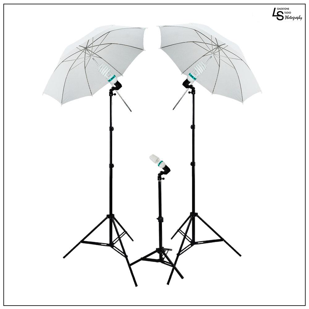 1200w Lighting Kit With 2x 33 White Umbrella 3x Single Socket Head