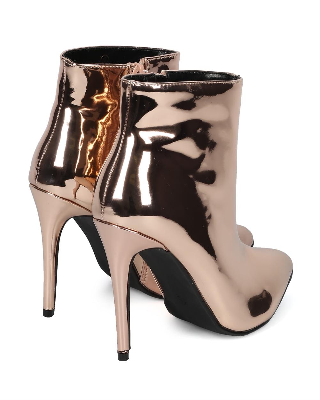 Women Mirror Metallic Pointy Toe Stiletto Ankle Bootie HG20