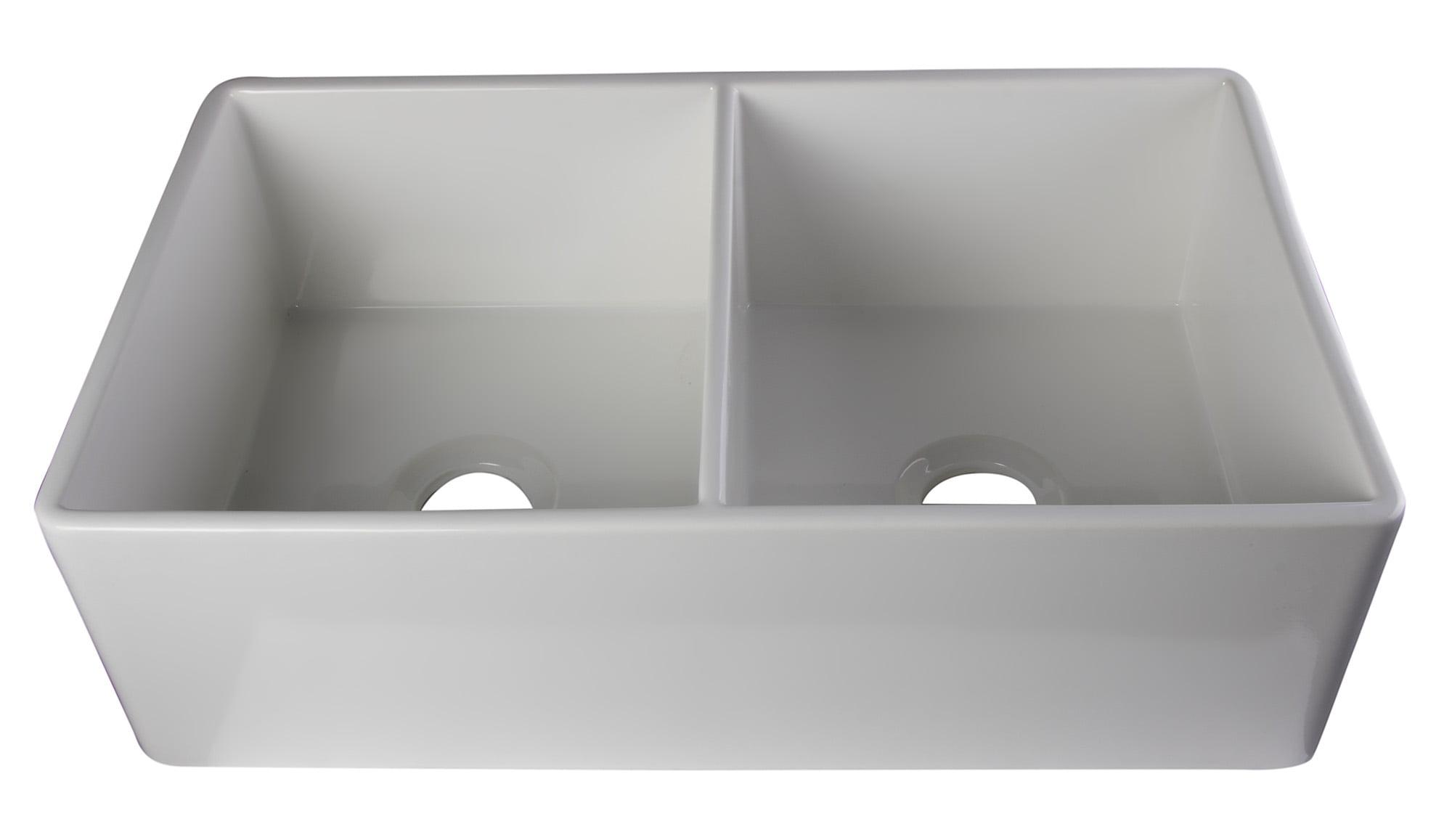 Alfi Brand Ab538 W White 32 Smooth A Double Bowl Fireclay Farmhouse Kitchen Sink