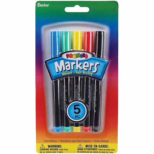 Darice Foam Markers, 5/pkg, Primary Colors