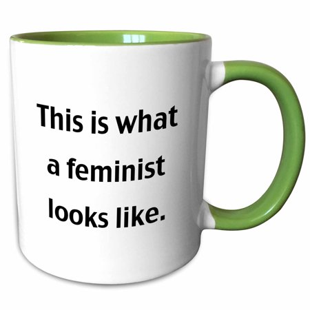 3dRose This is what a feminist looks like - Two Tone Green Mug, (Small Green Fruit That Looks Like An Apple)