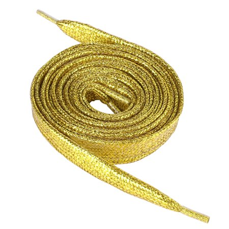 2 Pieces Gold Tone Replacement Glittering Shoelaces for - Gold Shoelaces
