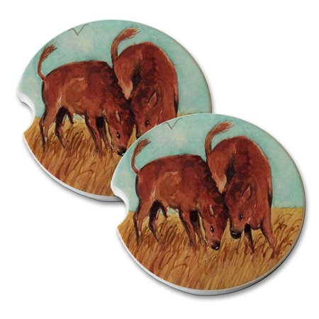KuzmarK Sandstone Car Drink Coaster (set of 2) - American Bison Buffalo Calves Battle of the Baby Bulls Wildlife Art by Denise Every ()