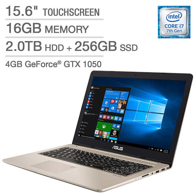 "Asus VivoBook Pro Laptop: 15.6"" 4k Touch Display, Core i7-7700HQ, 256GB SSD + 2TB HDD, 16GB RAM, NVidia... by ASUS"