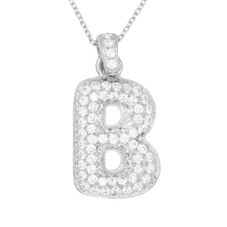 14k White Gold Micro Pave CZ Letter B Initial Personalized Pendant Necklace