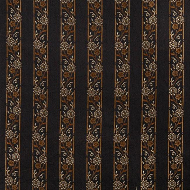 Designer Fabrics K0013C 54 in. Wide Midnight, Gold And Ivory Embroidered, Striped, Floral Brocade, Upholstery And Window Treatments Fabric