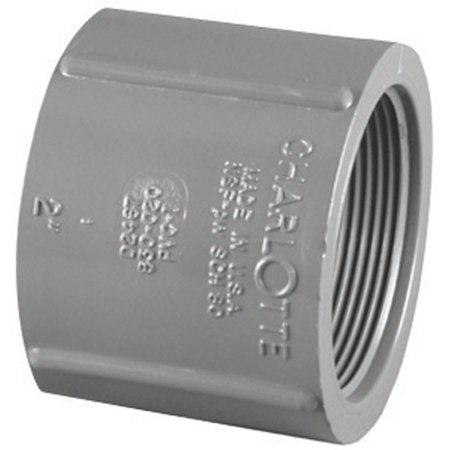 Charlotte Pipe & Foundry PVC 08102  1400HA Pipe Fitting, PVC Coupling, Gray, FPT x FPT, 1-In.