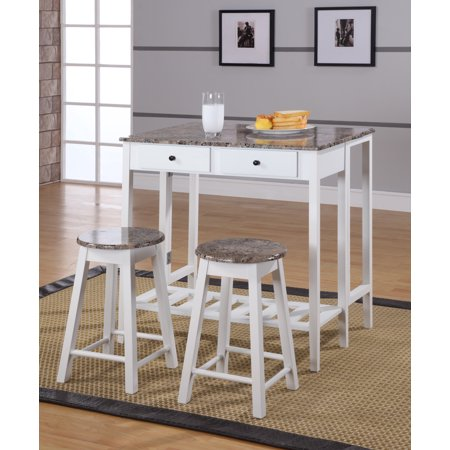 Rave 3 Piece White & Marble Top Wood Contemporary Kitchen Dinette Breakfast  Pub Set (Folding Drop Down Table, 2 Stools, 2 Storage Drawers)