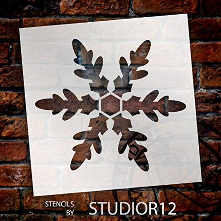 Snowflake Stencil by StudioR12 | Classic Winter Art - Reusable Mylar Template | Painting, Chalk, Mixed Media | Use for Wall Art, DIY Home Decor - STCL953 SELECT SIZE (18