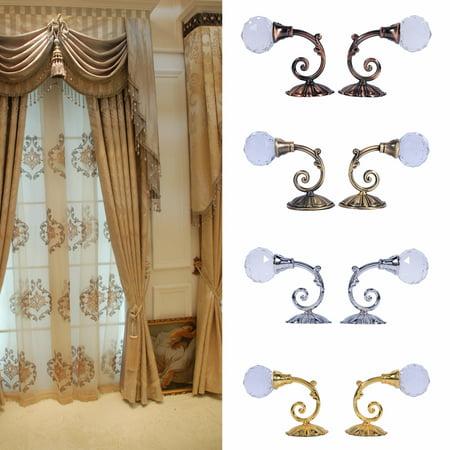 HURRISE 2x Metal Crystal Glass Curtain Holdback Wall Window Drapery Tieback Hooks Hanger Holder ()
