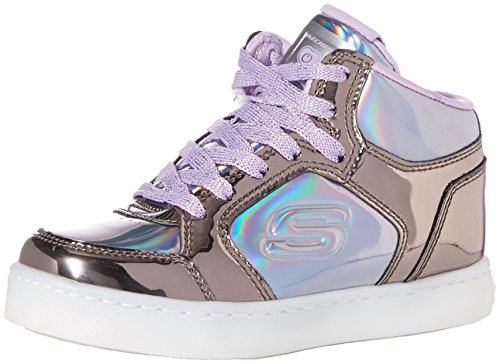 Skechers Kids Girls' Energy Lights-10943L Sneaker,Gunmetal/Purple,2.5 Medium US Little Kid