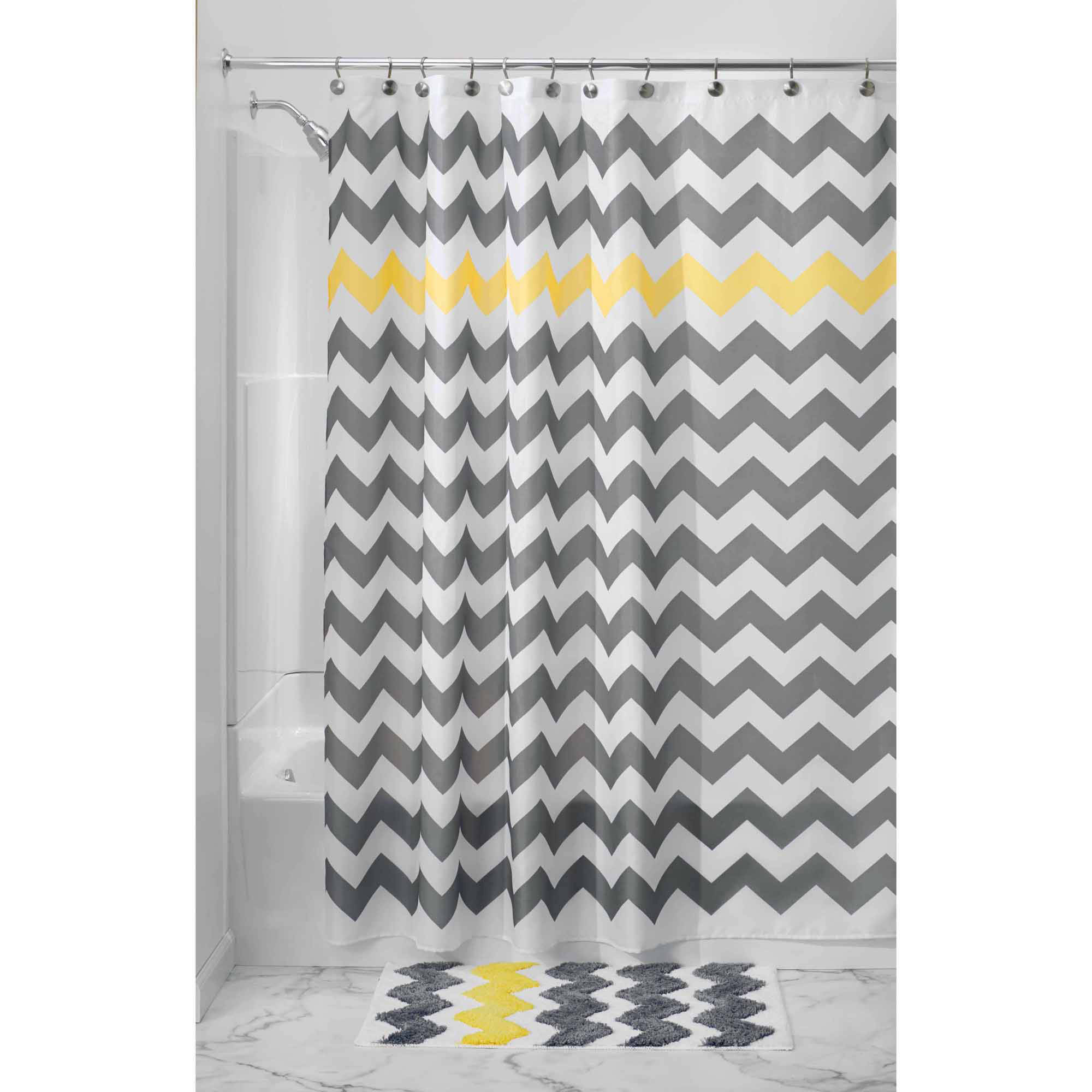 "InterDesign Chevron Fabric Shower Curtain, 72"" x 72"", Various colors"