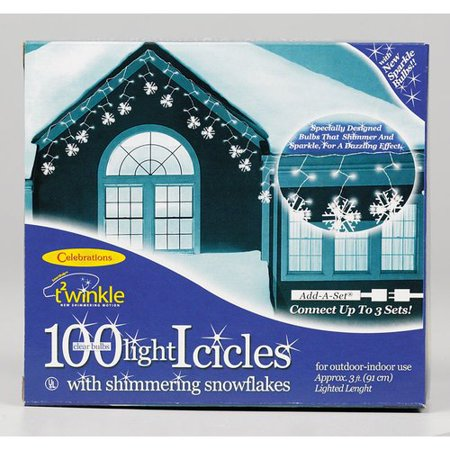 Celebrations Incandescent Snowflake 100 Light Icicle Lights - Snowflake Light