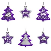 TCU Horned Frogs Six-Pack Shatterproof Tree And Star Ornament Set - No Size