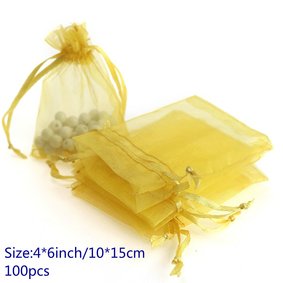 "Organza Bags 100pcs 4""x6"" Jewelry Favor Pouches Wedding Party Festival Gift Bags Candy Bags (Golden)"