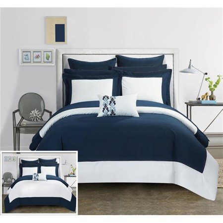 Chic Home CS0519-US Charlene Modern Two Tone Reversible Hotel Collection, Embellished Borders & Embroidery Decor Pillow Bed in a Bag Comforter Set with Sheets - Navy - King - 10 Piece