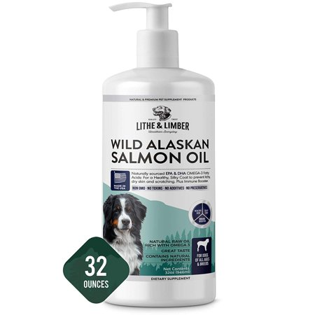 Lithe & Limber New Developed Formula Salmon Oil for Dogs - Omega-3 & Omega-6 Fatty Acids to Help Allergies, Itching & Dry Skin - Made in USA -