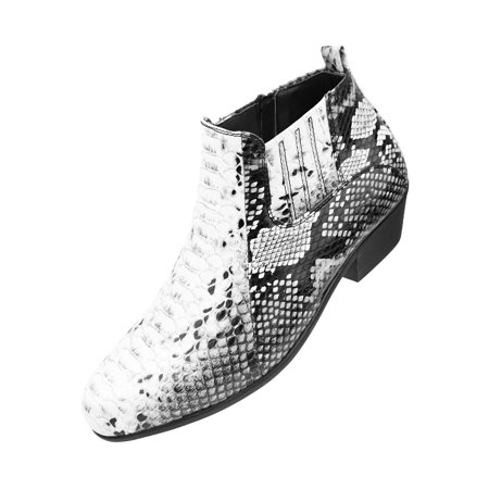 fdc5d5010d Bolano - Bolano Men's Exotic Demi Dress Boot in Faux Snake Print Pattern,  Style Adder Available in Black, Rust-Cognac, and Black/White - Walmart.com