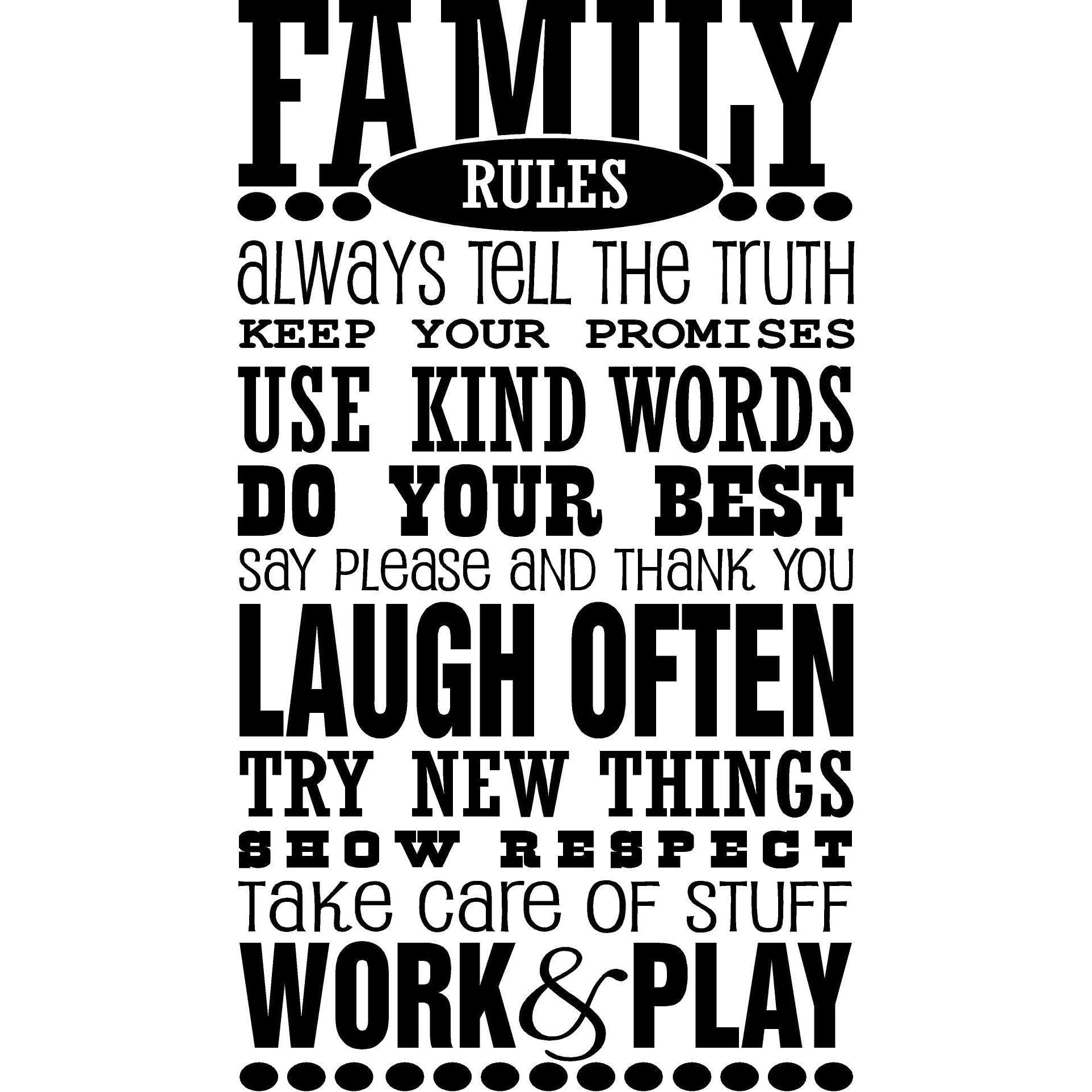 Family Rules Vinyl Wall Art TURQUOISE