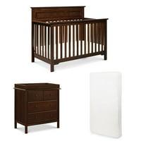 DaVinci Autumn 4 in 1 Convertible Crib, 4 Drawer Dresser in Espresso  Hypoallergenic Universal Fit 6 inch Ultra Firm Deluxe Crib Mattress Value Set