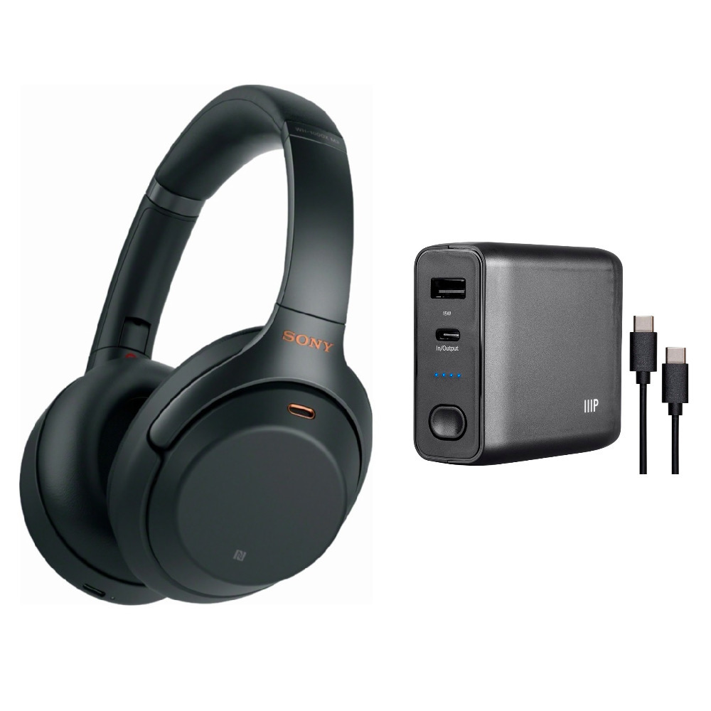 Sony WH1000XM3 Wireless Noise Canceling Headphones with Portable Power Bank