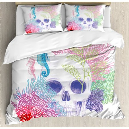 Halloween Revos (Ambesonne Animal Halloween Skull Skeleton Head with Coral Reef Dead Aquarium Pirate Wildlife Image Duvet Cover)