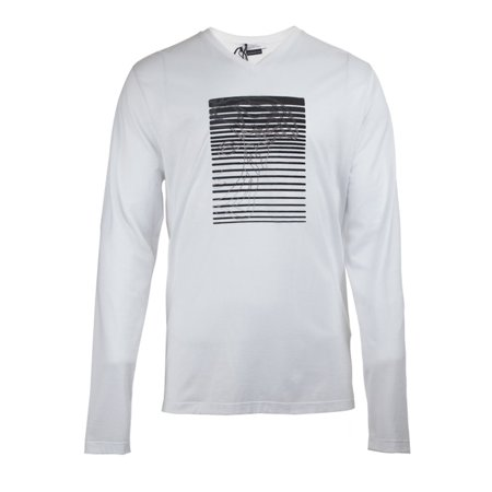0156dfef Versace Collection Mens Micro-Studded Half Medusa Long Sleeve V-Neck T-shirt,  White, Small