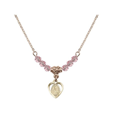 18-Inch Hamilton Gold Plated Necklace with 4mm Light Rose Pink October Birth Month Stone Beads and Scapular Charm