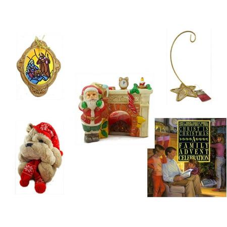 Five Star Base - Christmas Fun Gift Bundle [5 Piece] - Holy Family Nativity Porcelain Ornament - Gold Glitter Star Base Ornament Hanger - Vintage Porcelain Santa's Fireplace Tealight Holder - Commonwealth Shar pei
