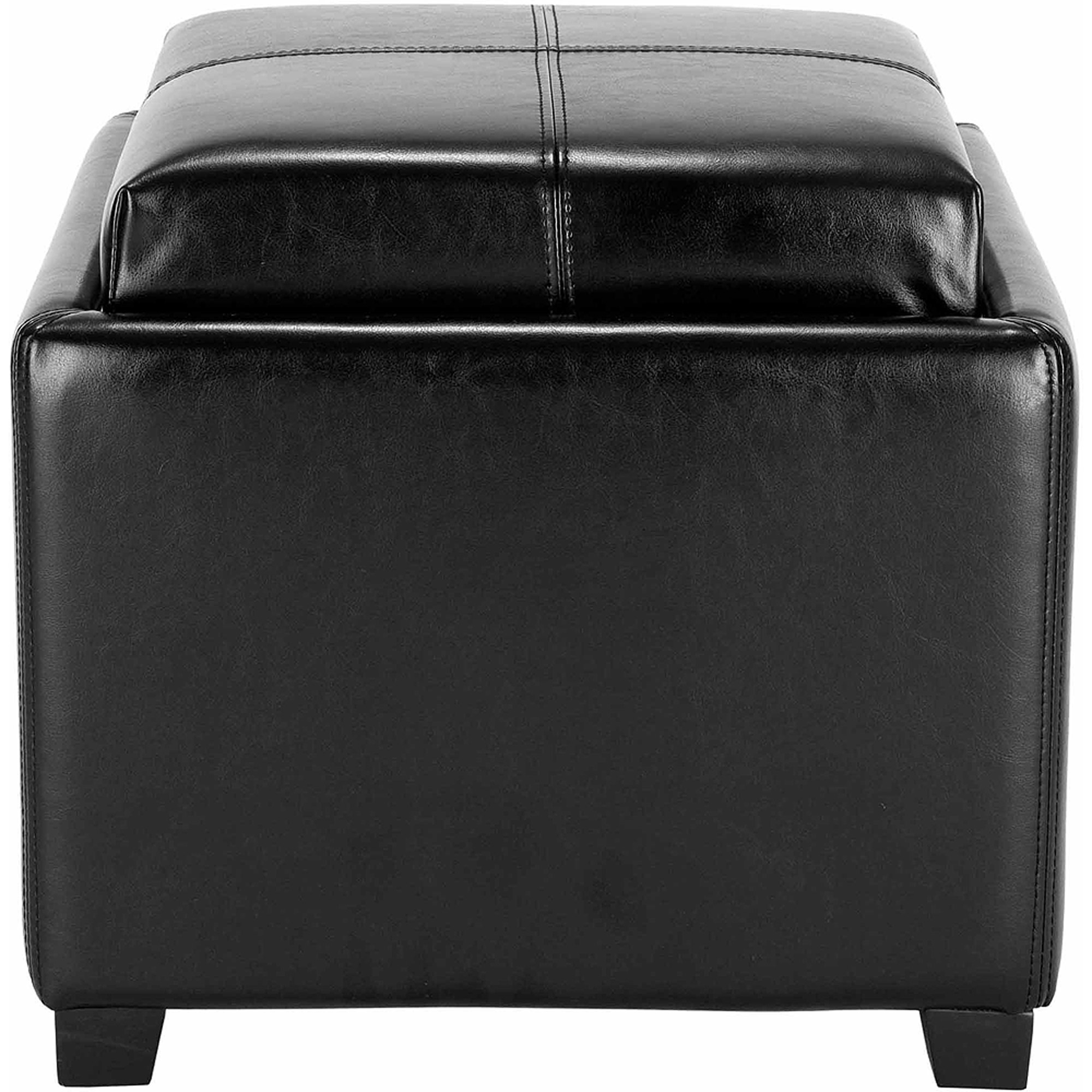 Safavieh Harrison Bicast Leather Upholstered Single Tray Ottoman, Multiple Colors