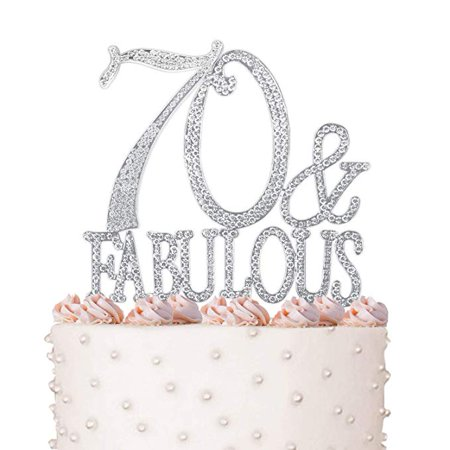 Rhinestone Crystal Cake Topper Silver, Gold Numbers, Letters, Bling Love, Wedding, Birthday, Anniversary,Sparkles, Shine, Party Decorations Supplies (70 & Fabulous)](70 Decorations)