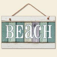 New Weathered Wood Beach Sign Coastal Wall Plaque