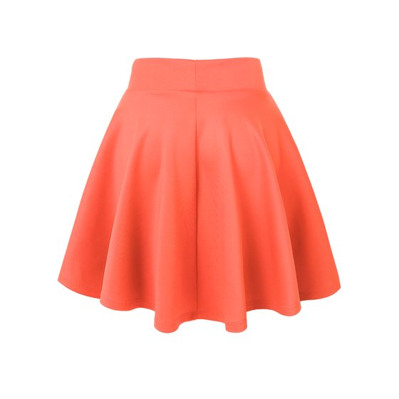 f7c317ec2c0c Meaused from size Small. Made By Johnny MBJ WB669 Womens Basic Versatile  Strechy Flare Skater Skirt XXL Neon_Coral