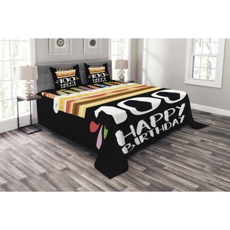 100th Birthday Bedspread Set Old Legacy 100 Party Cake Candles On Black Major Milestone Backdrop Decorative Quilted Coverlet With Pillow