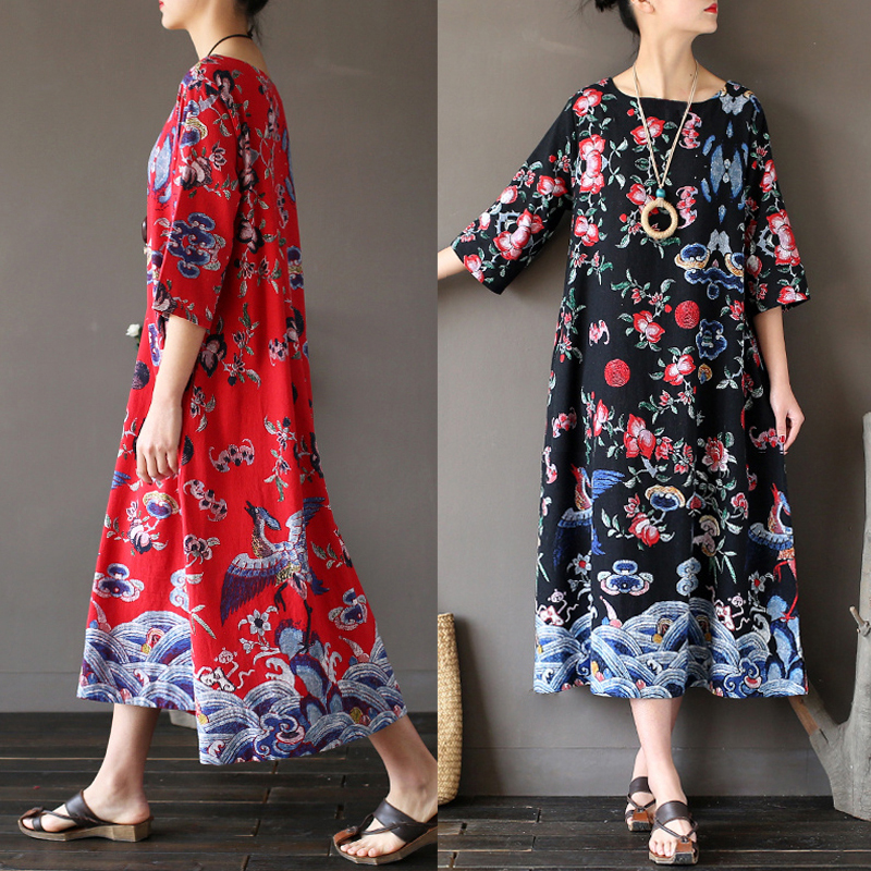 ZANZEA Vintage Plus Size Women Retro Ethnic Floral Casual Loose Long Tunic Maxi Dress Kaftans