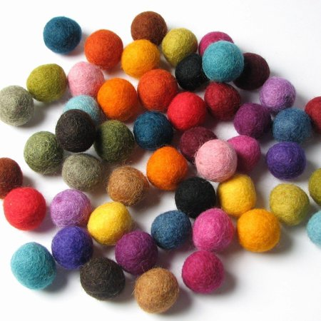 50 Hand-felted Wool Felt Balls 2 CM Multi Color Mix Fiber Crafts, 50 Hand Felted Wool Balls - 2 cm By Handbehg Felts Ship from US