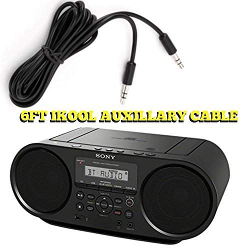 ZSRS60BT CD Boombox Sony Radio AM FM Radio BoomBox With Bluetooth and NFC (Black)Works With Batteries + I-Kool... by I-KOOL