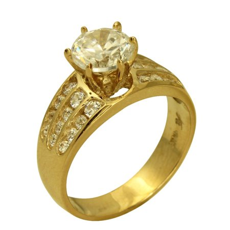 2.00 Ct 14K Real Yellow Gold Round Cut with Channel Set Side Stones 3 Lines Rows 6 Prong Cathedral Setting Engagement Wedding Propose Promise Ring (Three Row Channel Set)