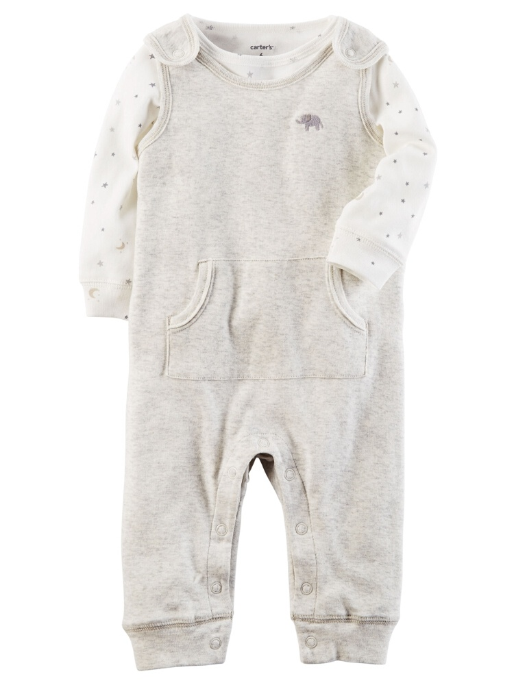 Carters Unisex Baby 2-Piece Babysoft Coverall Set Elephant Gray