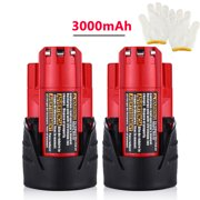 2-Pack 12V 3000mAh Replacement Battery for Milwaukee M12 48-11-2411 LITHIUM 12 Volt Milwaukee Power Tools Batteries