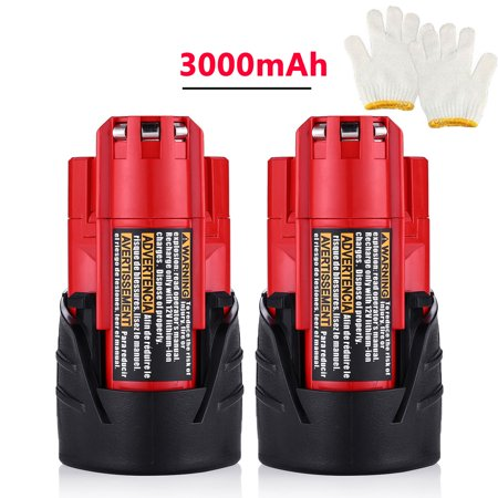 Powerextra 2-Pack 12V 3000mAh Replacement Battery for Milwaukee M12 48-11-2411 LITHIUM 12 Volt Milwaukee Power Tools Batteries (Milwaukee Tools M12 Battery)