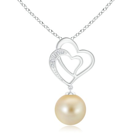 Mother's Day Jewelry - Golden South Sea Cultured Pearl Entwined Heart Pendant in 14K White Gold (10mm Golden South Sea Cultured Pearl) - SP0927GSPRD-WG-AAA-10