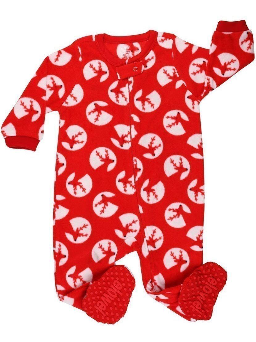 Elowel Unisex Little Kids Red White Reindeer Footed Fleece Sleeper Pajama