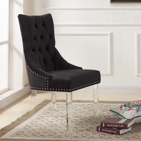 Acrylic Dining Chair - Armen Living Gobi Modern and Contemporary Tufted Dining Chair in Velvet with Acrylic Legs
