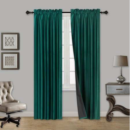 TOM HUNTER GREEN 2-Piece 100% Blackout Room Darkening Rod Pocket Window Curtain with Black Foam Backing Set, Solid Thermal Lined Panels 35