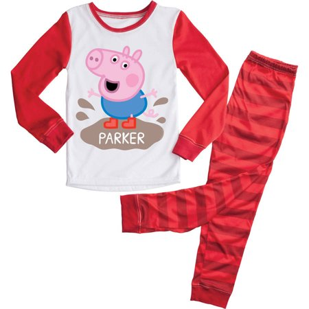 Personalized Peppa Pig Puddles Red Toddler Pajamas - 2T, 3T, 4T, - Personalized Easter Pajamas
