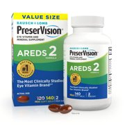 PreserVision® AREDS 2 Formula + Multivitamin, Eye Vitamin and Mineral Supplement with Lutein & Zeaxanthin–From Bausch + Lomb, 140 Soft Gels (MiniGels)