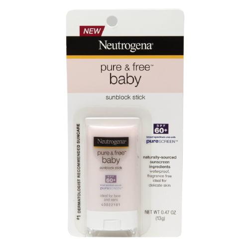 Neutrogena Pure And Free Baby Sunblock Stick, Spf 60+ - 0.47 Oz, 2 Pack