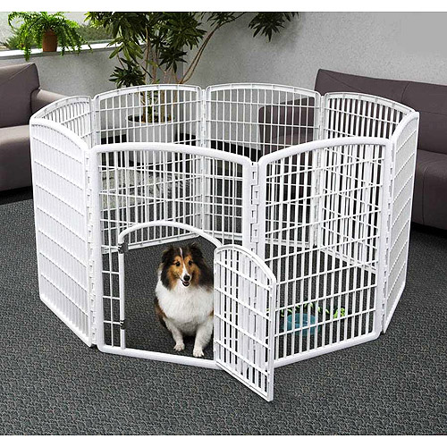 "Iris 8-Panel Indoor/Outdoor Pet Pen, 63""Wx63""Lx34H"", White"