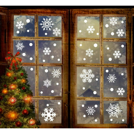 193 Piece Christmas Window Stickers - White Snowflakes Window Clings Decal Stickers Christmas Decoration Winter Wonderland Xmas Party Wall Stickers Decal Ornaments (6 Sheets)](Snowflake Window Decals)